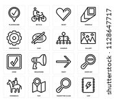 set of 16 icons such as chip ...