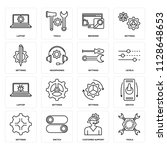 set of 16 icons such as tools ...