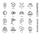 set of 16 icons such as snowing ...