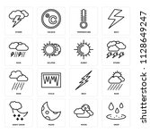 set of 16 icons such as drop ...