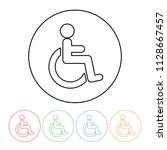 wheelchair icon in a thin line... | Shutterstock .eps vector #1128667457