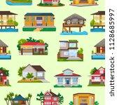 villa vector facade of house...   Shutterstock .eps vector #1128685997