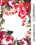 greeting card with watercolor... | Shutterstock . vector #1128690467