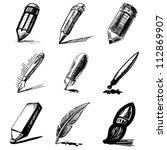 Pens and pencils collection .Hand drawing sketch vector set