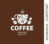 coffee shop logo design element ...   Shutterstock .eps vector #1128707687