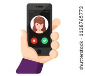 incoming call on smartphone... | Shutterstock .eps vector #1128765773