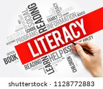 Small photo of Literacy word cloud collage, education concept background