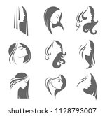 silhouettes of a girl in... | Shutterstock .eps vector #1128793007