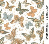 Seamless vintage patterned butterfly background, vector illustration - stock vector