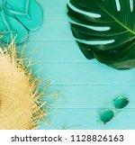 summer arrangement of leaves... | Shutterstock . vector #1128826163