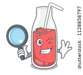 detective strawberry smoothie... | Shutterstock .eps vector #1128858797