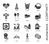 set of 16 icons such as dollar  ... | Shutterstock .eps vector #1128974477