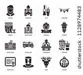 set of 16 icons such as sticker ...