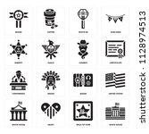 set of 16 icons such as white... | Shutterstock .eps vector #1128974513