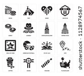 set of 16 icons such as... | Shutterstock .eps vector #1128974567