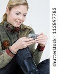 portrait of woman with mobile... | Shutterstock . vector #112897783