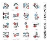 set of 16 icons such as cooler  ...