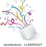 open box with colorful confetti ... | Shutterstock . vector #1128995327