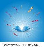 open box with colorful confetti ... | Shutterstock . vector #1128995333