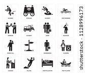set of 16 icons such as man in...