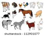 set of  farm animals  vector... | Shutterstock .eps vector #112901077