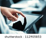 man holding digital tablet ... | Shutterstock . vector #112905853