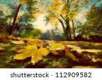 Autumn park vintage painting. Leaves, colors of fall, retro mood. - stock photo
