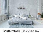 spacious stylish white loft...   Shutterstock . vector #1129164167