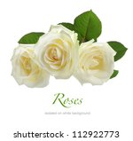 Stock photo three white roses isolated on white 112922773