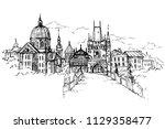 vector illustration of prague... | Shutterstock .eps vector #1129358477