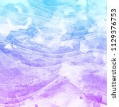 blue and violet watercolor... | Shutterstock . vector #1129376753