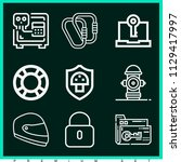 set of 9 security outline icons ... | Shutterstock .eps vector #1129417997