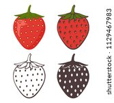 set of strawberry icons  ... | Shutterstock .eps vector #1129467983
