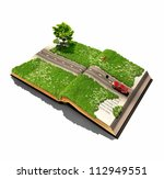 moving car on the open book pages (illustrated concept) - stock photo