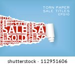 blue torn paper with red sale titles - stock vector