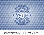 win blue emblem or badge with... | Shutterstock .eps vector #1129594793