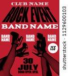 rock event poster. vector hand... | Shutterstock .eps vector #1129600103