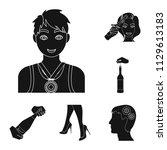 manipulation by hands black... | Shutterstock .eps vector #1129613183