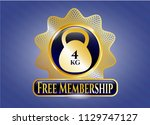 gold emblem or badge with 4kg... | Shutterstock .eps vector #1129747127