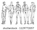 fashion man. set of fashionable ... | Shutterstock .eps vector #1129772057