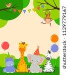 cute wildlife animals cartoon... | Shutterstock .eps vector #1129779167