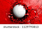 volleyball ball breaking with... | Shutterstock . vector #1129793813