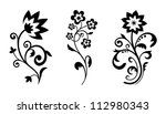 Stock vector silhouettes of abstract vintage flowers vector floral elements for art design 112980343