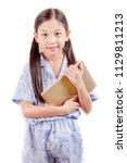 little girl with tablet | Shutterstock . vector #1129811213
