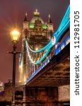 HDR image of Tower bridge at night - stock photo