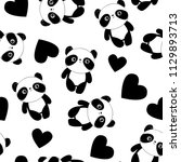 panda with heart background....   Shutterstock .eps vector #1129893713