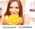 woman young housewife in... | Shutterstock . vector #1129900463