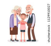 grandparents and granddaughter... | Shutterstock .eps vector #1129910027