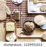still life with many healthy... | Shutterstock . vector #1129951313