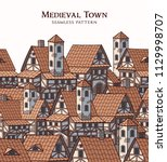 medieval ancient city.... | Shutterstock .eps vector #1129998707